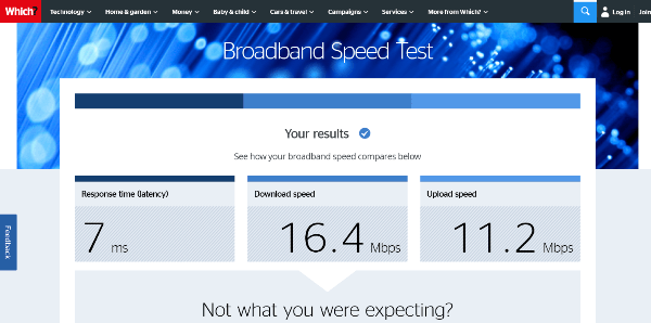 Which.co.uk Broadband Speed Test
